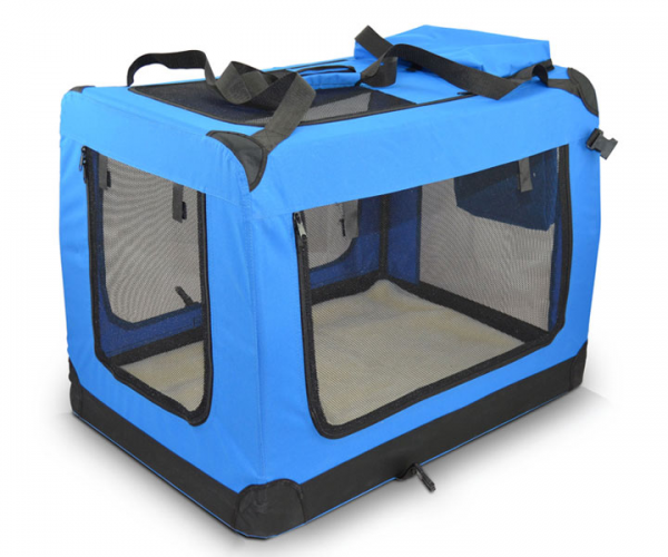 faltbare blaue Transportbox für Tiere in 6 Größen von zooprimus