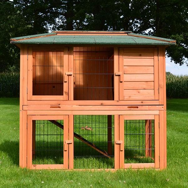 2-stöckiger Kaninchenstall von zooprimus Modell Stadtvilla Natur mit Freilaufgehege