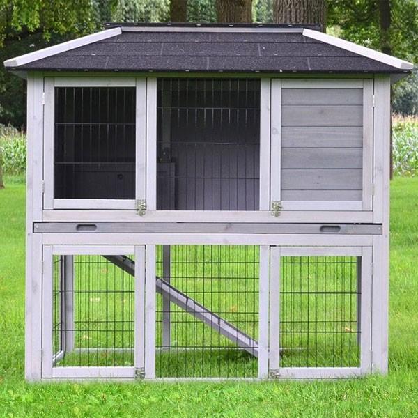 Moderner Kleintierstall von zooprimus Modell Stadtvilla in den Farben Grau-Weiß
