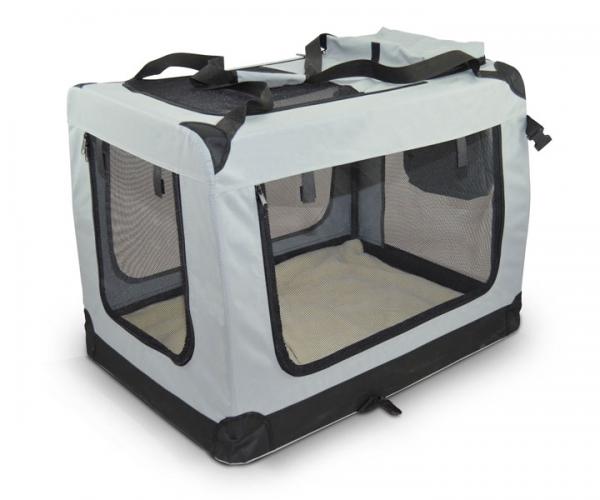 zooprimus Graue Hundtransportbox Transportbox faltbar Reißverschluss Netzeinsätze